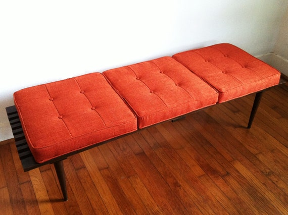 George Nelson Inspired Mid Century Vintage Slated Bench with Orange Cushions