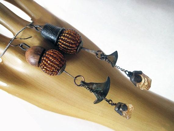 Eternitarian. Asymmetrical Tribal Gypsy Earrings with Citrine.