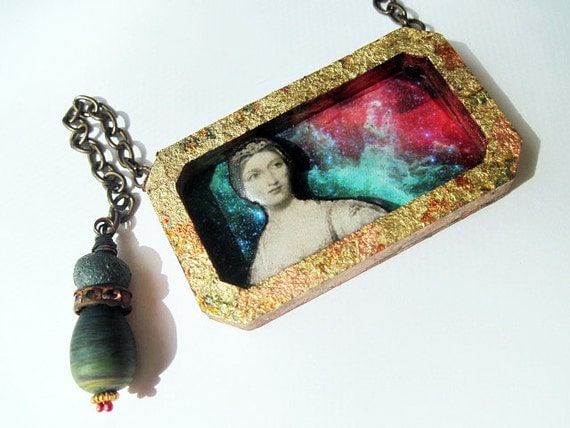 Our Lady of the Scattered Stardust. Cosmic Victorian Tribal Pendant Necklace with Druzy, Virgin Mary, Galaxy Nebula.