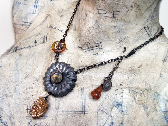 The Secret Earth. Found Object Assemblage Necklace with Gold Druzy.
