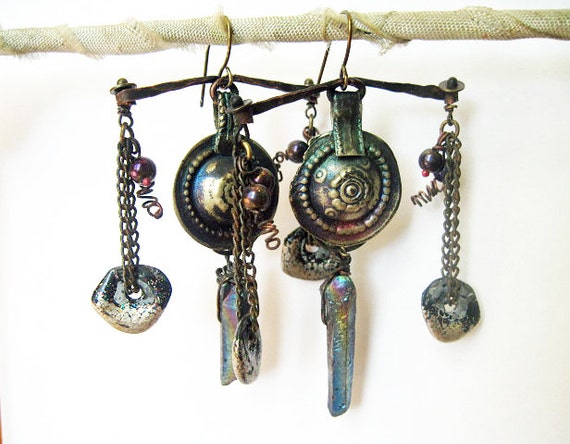 As a Sta IIr. Cosmic Tribal Talisman Earrings with Rainbow Titanium Iridescent Stones and Faux Raku..