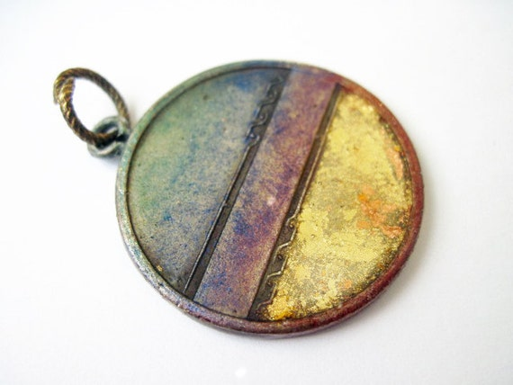 Beyond Ideas. Cosmic Medal Pendant with Faux Raku and Gold Leaf.