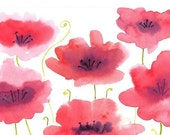 Affordable Organic Art Original watercolor painting of  red poppies by Elina Lorenz, wall art.