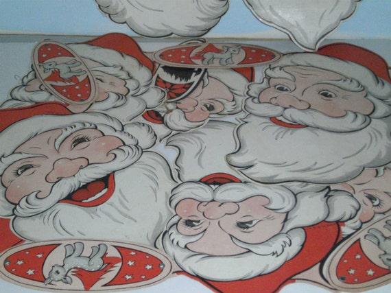 Vintage Santa Garland Santa Faces Paper Garland