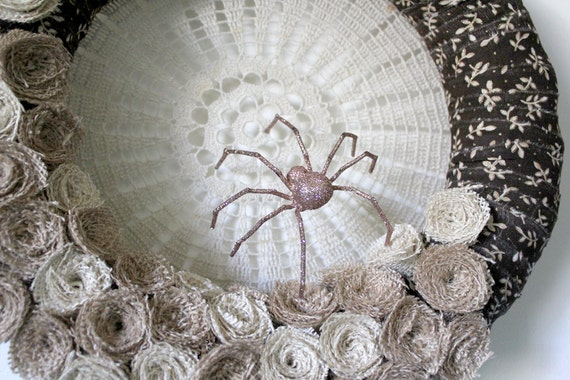 Spider Wreath, Halloween Wreath, Shabby Wreath, Fabric and Burlap Wreath, 14 inch size