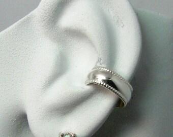 Ear Cuff Silver Ear Band Non-pierced Cartilage Wrap Earring Fake Conch No Piercing Cuff Earring Simple Ear Cuff Earring Domed beaded E10BSS