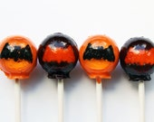 Black and orange bats Halloween lollipops tangerine and cherry flavor - 6 pc.  - READY TO SHIP
