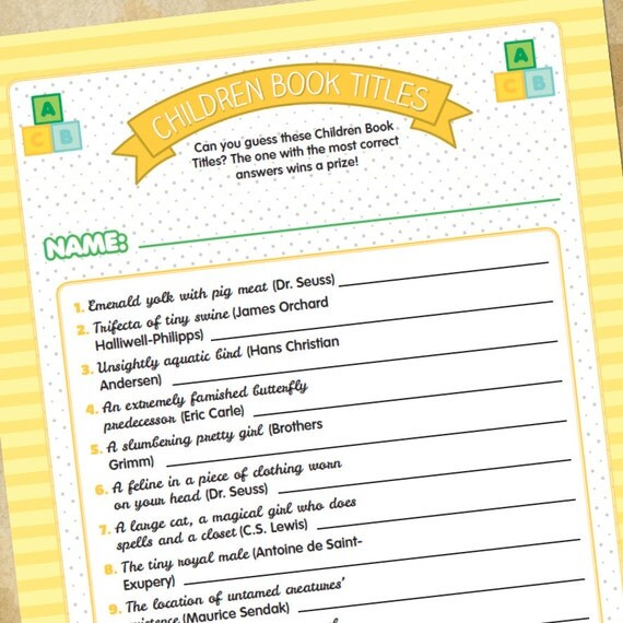 items similar to baby shower game children book titles generic on