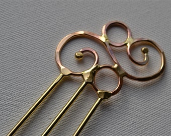 Solid Brass Curly Hair Stick