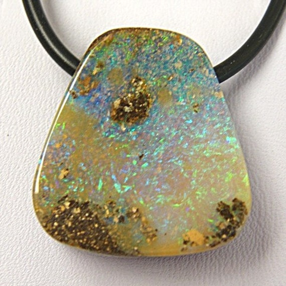 Opal Jewelry, Bright Green Sparkly Australian Boulder Opal on Black Rubber - Item 168121 - SALE 15% OFF use code SALE15