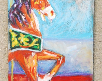 Carousel Horse,  5 x 7 Original Oil Pastel Painting, Carousel Prancer by Bethany Bryant