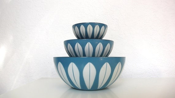 Cathrineholm Lotus Nesting Bowls in Turquoise and White