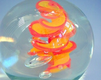 Hand Blown Art Glass Paperweight in Orange and Yellow by Riker Art Glass