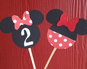Minnie Mouse Cupcake Toppers in Classic Red- Set of 12