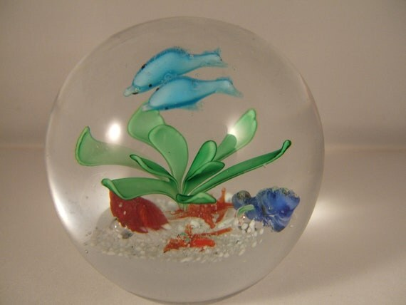 Vintage Glass Paperweight with Dolphins Starfish and Shells