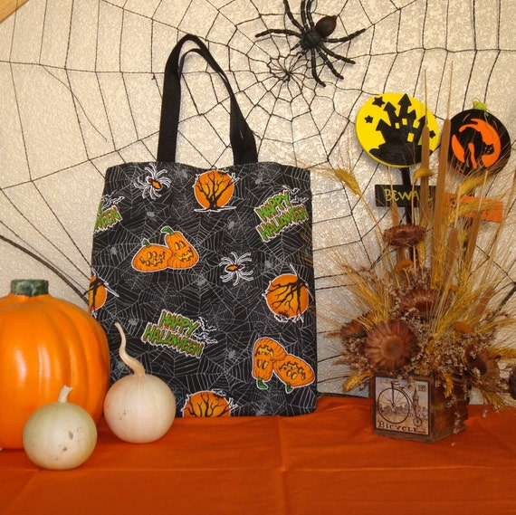 Halloween Trick or Treat Reversible Tote Bag in a Spider Web Print