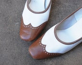 SALE vintage 60s Spectator Shoes  - Brown and White Wingtip Heels Sz 9