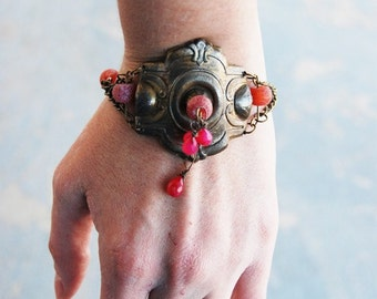 Bohemian Bracelet - Rose Agate and Jade - Antique Hardware Collection