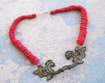 Turquoise Necklace - Chunky Hot Pink Turquoise - Antique Hardware Collection