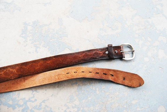 vintage Tooled Leather Belt -  Art Deco Brown Leather Belt Sz M L