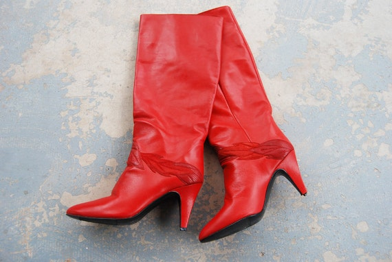 Clearance Sale Vintage 80s Boots 1980s Knee High Boots Red