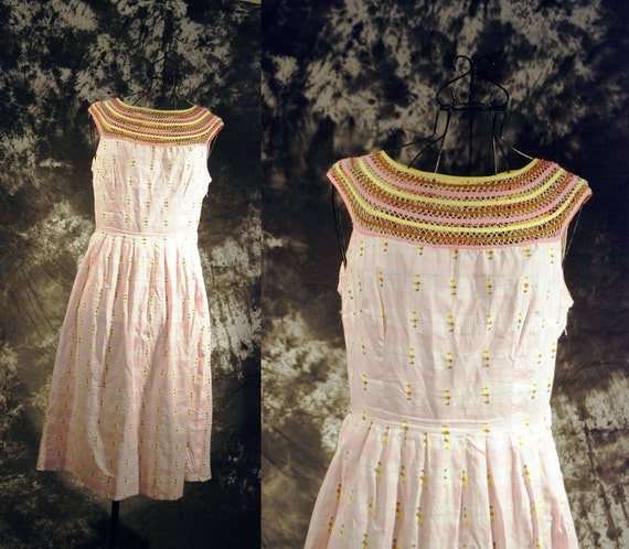 vintage 50s Dress - Crochet Collar Dress - Pink Plaid Sun Dress Sz M