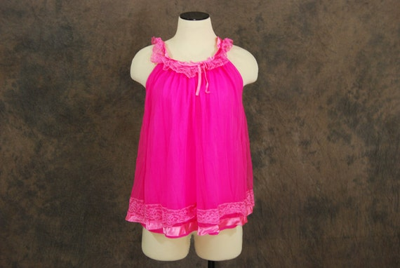 vintage 60s Cami - Lacy Neon Pink Camisole Sz S