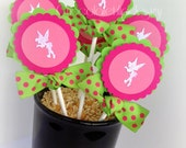 Fairy Classic Cupcake toppers Pixie Pink and Green handmade by Chocolatetulipdesign