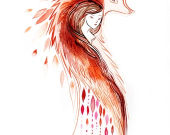 kitsune shape shifter - watercolor print
