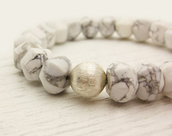 White Howlite Pillows Bracelet / Sterling Silver Gemstone Bracelet / cloud white smoky grey neutral natural stone / bohemian tribal fashion
