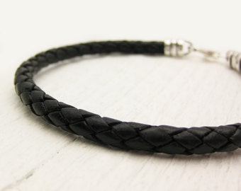 Mens Bolo Braided Bracelet / Black Leather and Sterling Silver / men dude guy man / rustic rugged tough bohemian manly rocker style
