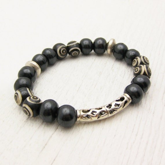 Carved Bone Statement Bracelet In Sterling Silver / tribal bohemian African inspired / black cream circles geometric beaded