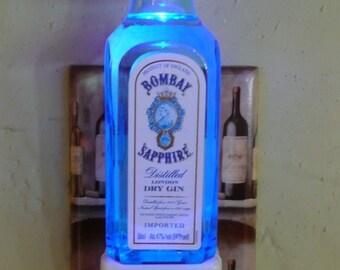 Bombay Sapphire mini-liquor bottle LED night light