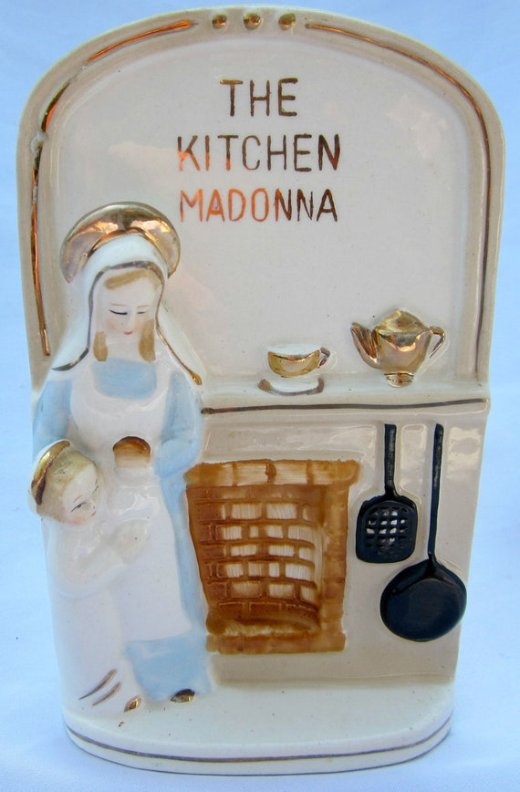 Kitchen Madonna Porcelain Wall Plaque Japan Child Vintage