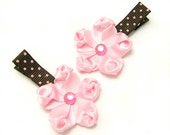 Pink Flower Hair Clips, Satin Flower Clips, Pink, Brown, Polka Dots, Baby Toddler Girl