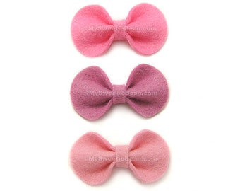 Baby Hair Bows, Pink Felt Hair Bows, 2 inch bows, Infant Hairbows, No Slip Baby Snap Clip, Felt Bow, Toddlers, Pink Bow Set for Baby