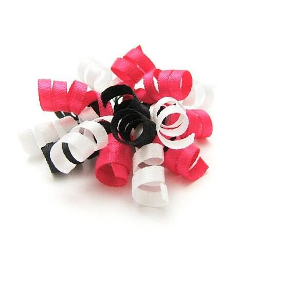 Paris Mini Korker Bow, Satin Korker, Baby, Toddler, Girl, Paris Pink, White, Black