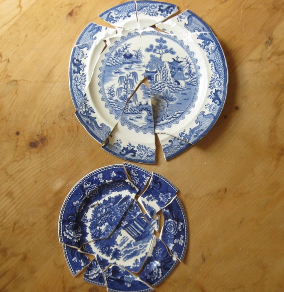 2 antique broken china plates for crafts mosaic blue by for Craft ideas for old dishes