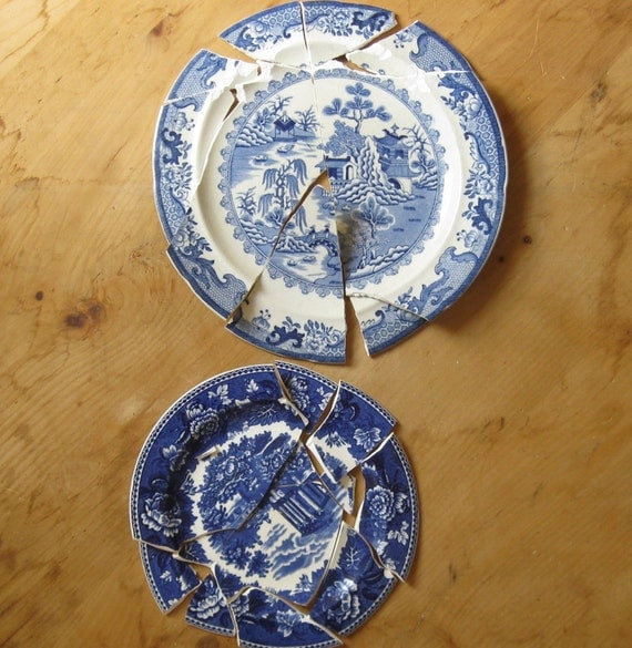 2 Antique Broken China Plates For Crafts Mosaic Blue By