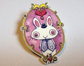 White Bunny Rabbit Pinback Button Brooch