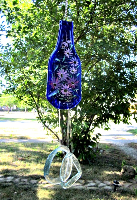 Blue Beer Bottle Wind Chime, Recycled, Eco Friendly Hand Painted Flowers