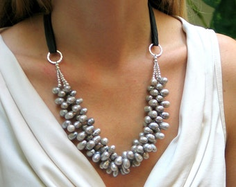 Gray Pearl Bib Cluster on Silk Ribbon, Statement Gray Necklace with Silk Ribbon, Gift for Her, Deluxe Pearls