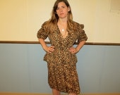 1980's Cheetah Print Vintage Skirt Set Size 15 - 16