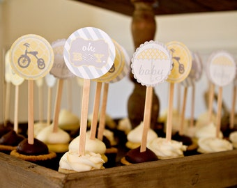 Baby Shower Printable Cupcake Toppers - Oh Boy