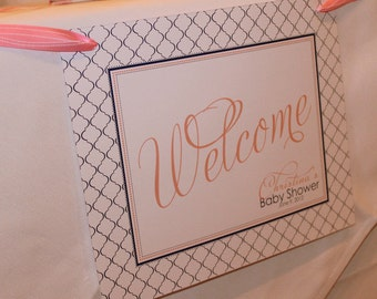 MODERN QUATREFOIL Printable Party Welcome Sign - Pink and Navy