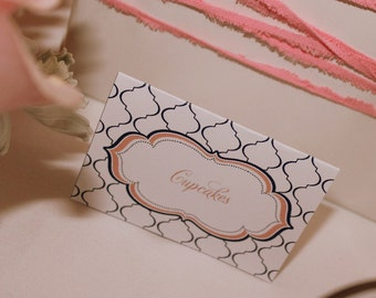 MODERN QUATREFOIL Printable Tent Cards - Pink and Navy