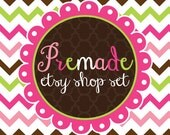 Premade Etsy Banner & Avatar Shop Set Colorful Chevron Stripes