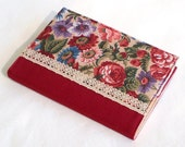 Fabric Journal Cover October Roses Handmade A6 Notebook Diary Cover Red Maroon Burgundy Pink Purple Flowers With Lace