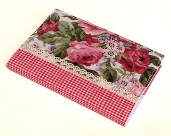 Fabric Journal Cover - Romantic Red Roses - A6 Notebook, Diary - Pink Flowers Green Leaves With Lace and Red Gingham