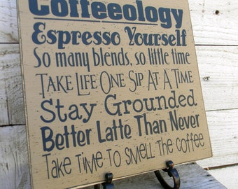 Coffeeology Typography word art sign